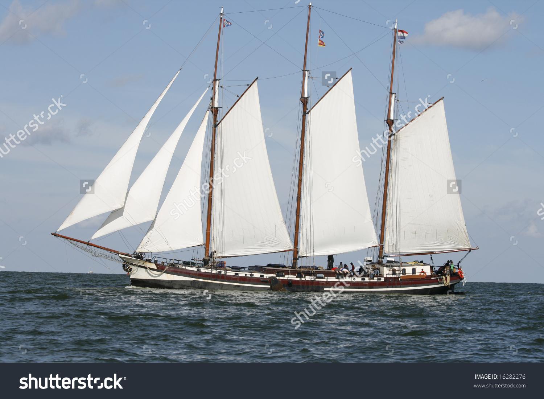 Typical Old Dutch Three Mast Sailing Stock Photo 16282276.