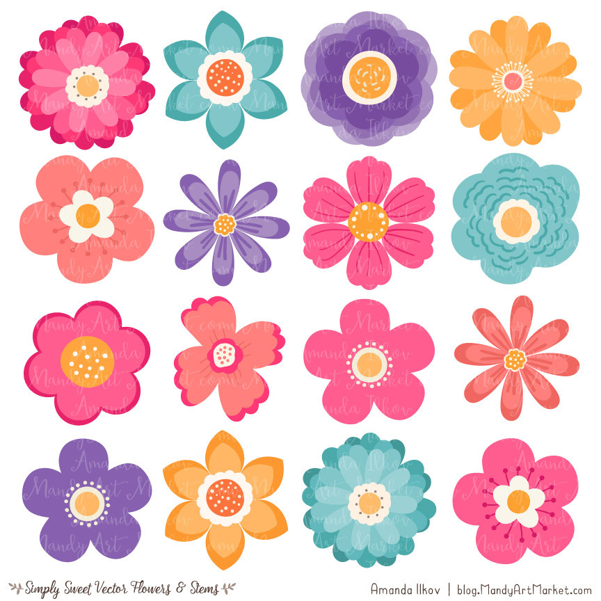 3 Flowers Clipart.