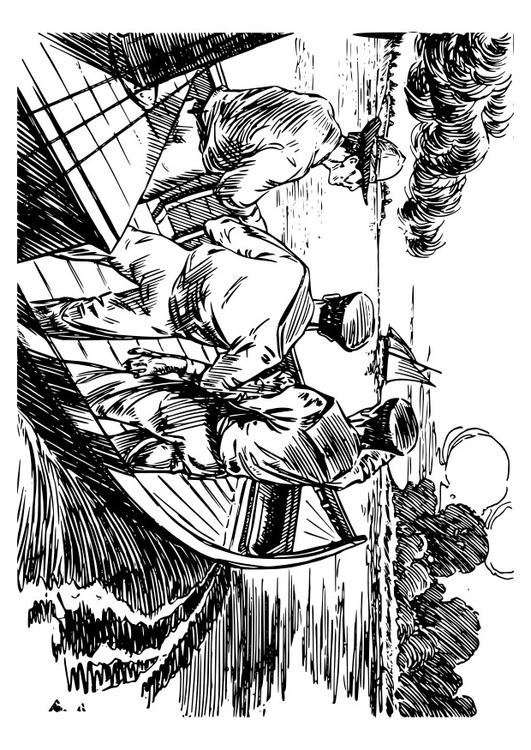 Coloring page 3 men in a boat.