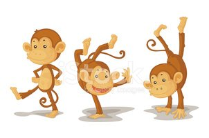 Three Monkeys stock vectors.