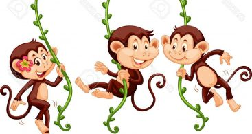 3 Monkeys Cartoon Vector Archives.