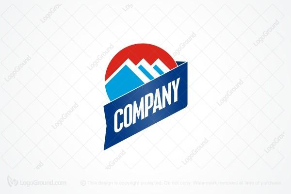 Exclusive Logo 52562, Three Mountain Blue Logo.