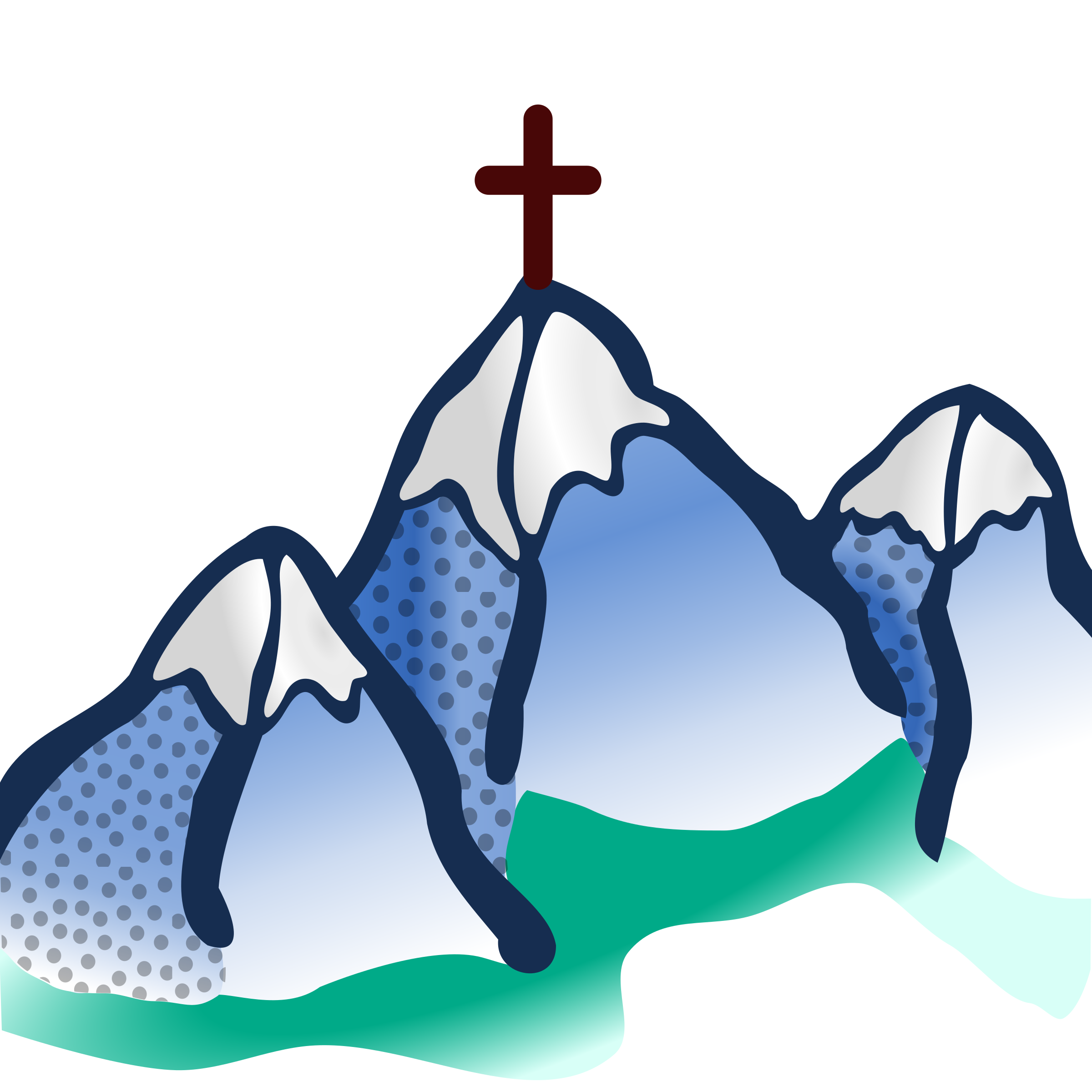 Three Mountains with Cross on top Vector Clipart.