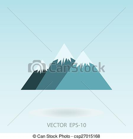 Clip Art Vector of Vector illustration of three mountains with.