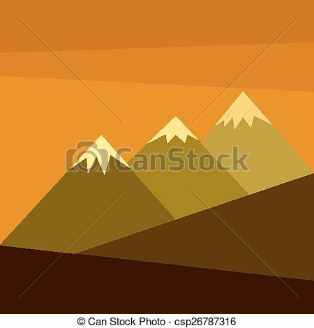 Vector Clip Art of Vector illustration of three mountains with.