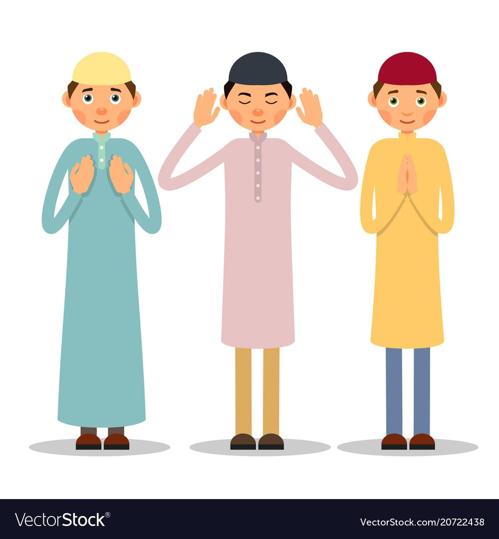 Muslim praying three muslim men stand and pray.
