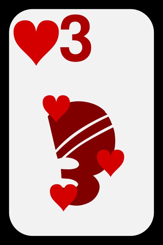 Free Clipart: Three of Hearts.