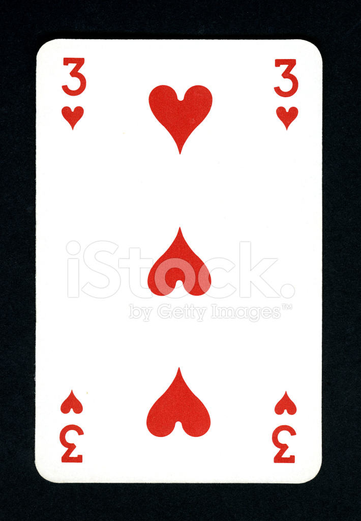 Playing Card: Three of Hearts Stock Photos.