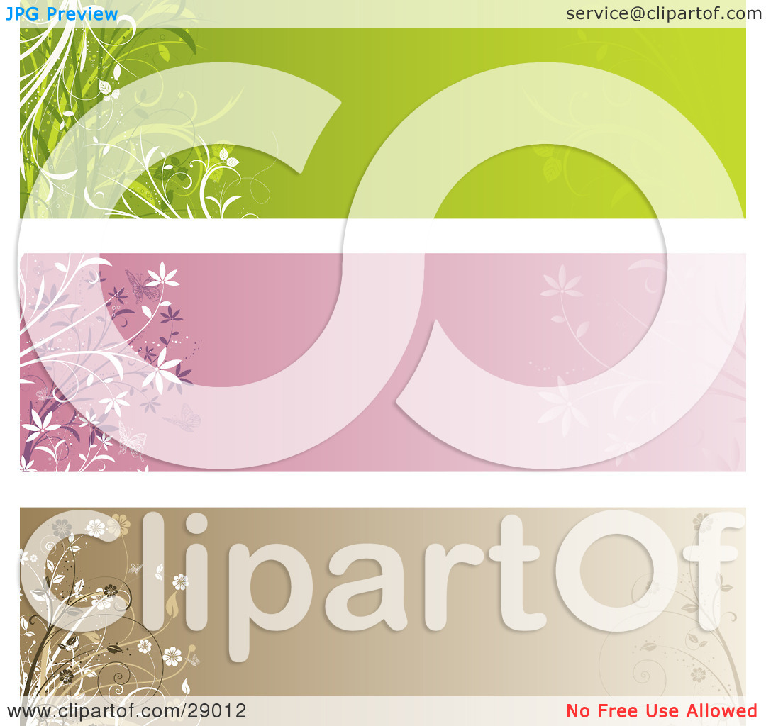 Clipart Illustration of a Set Of Three Green, Pink And Brown Web.