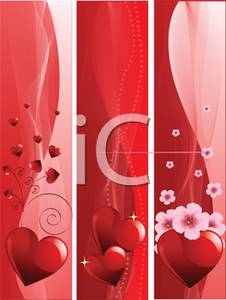 Red Panels with Pink Flowers and Red Hearts Clipart Image.