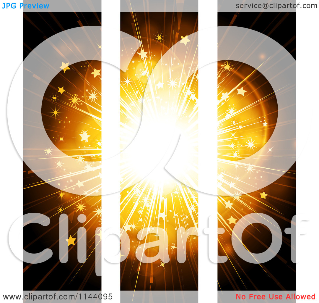 Clipart of Three Panels of a Golden Star Burst on White.