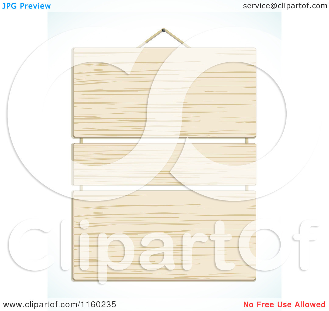 Clipart of a Hanging Wooden Sign with Three Panels.