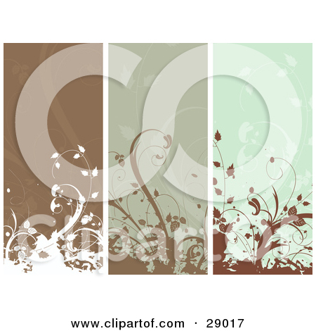 Clipart Illustration of a Set Of Three Brown And Green Vertical.