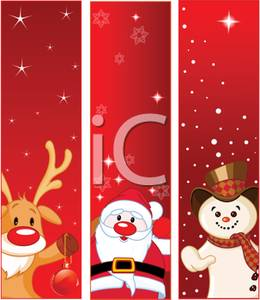 Art Image: Three Christmas Panels with Rudolph, Santa, and a Snowman.