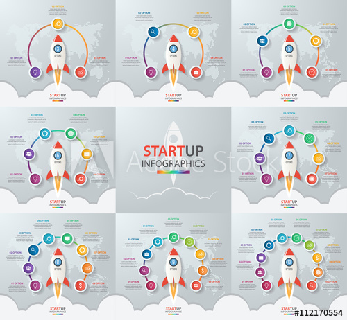 Startup vector circle infographic set with rocket launch and.