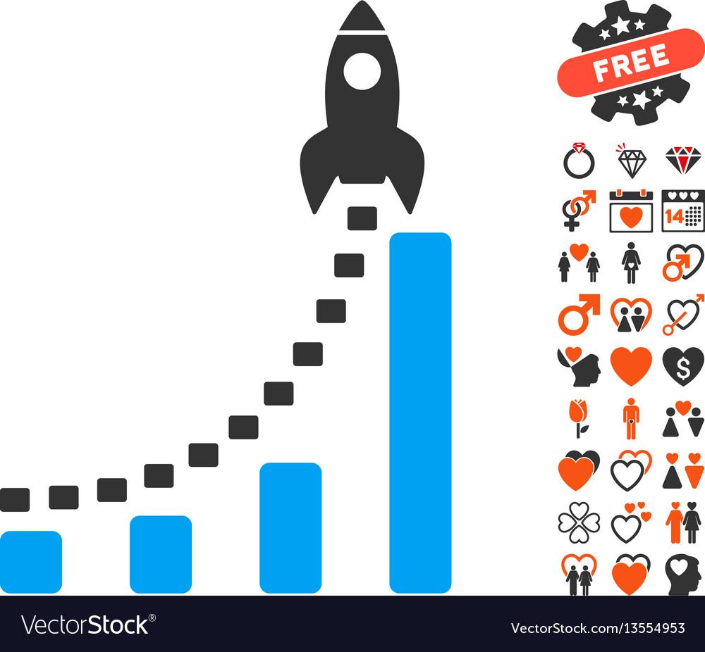 Rocket business start icon with love bonus.