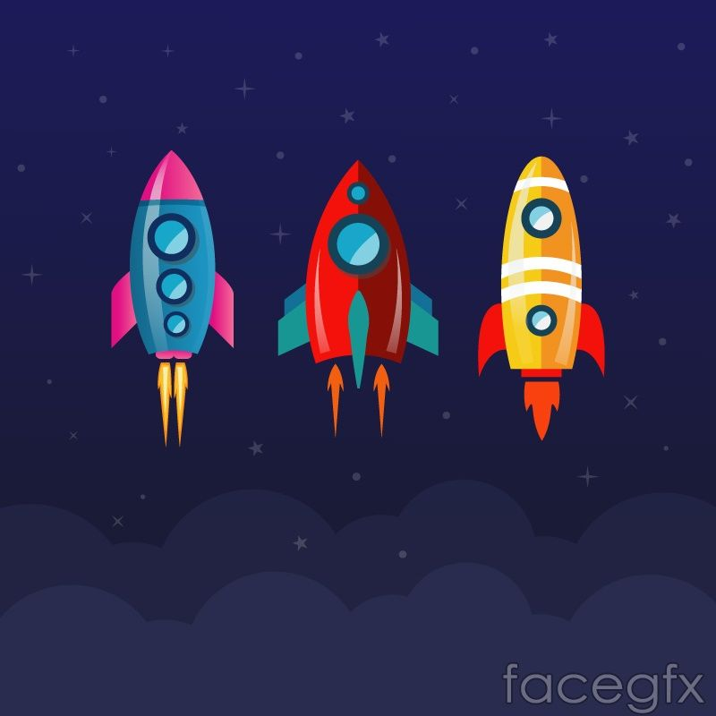 3 cartoon rocket design vector graph in 2019.