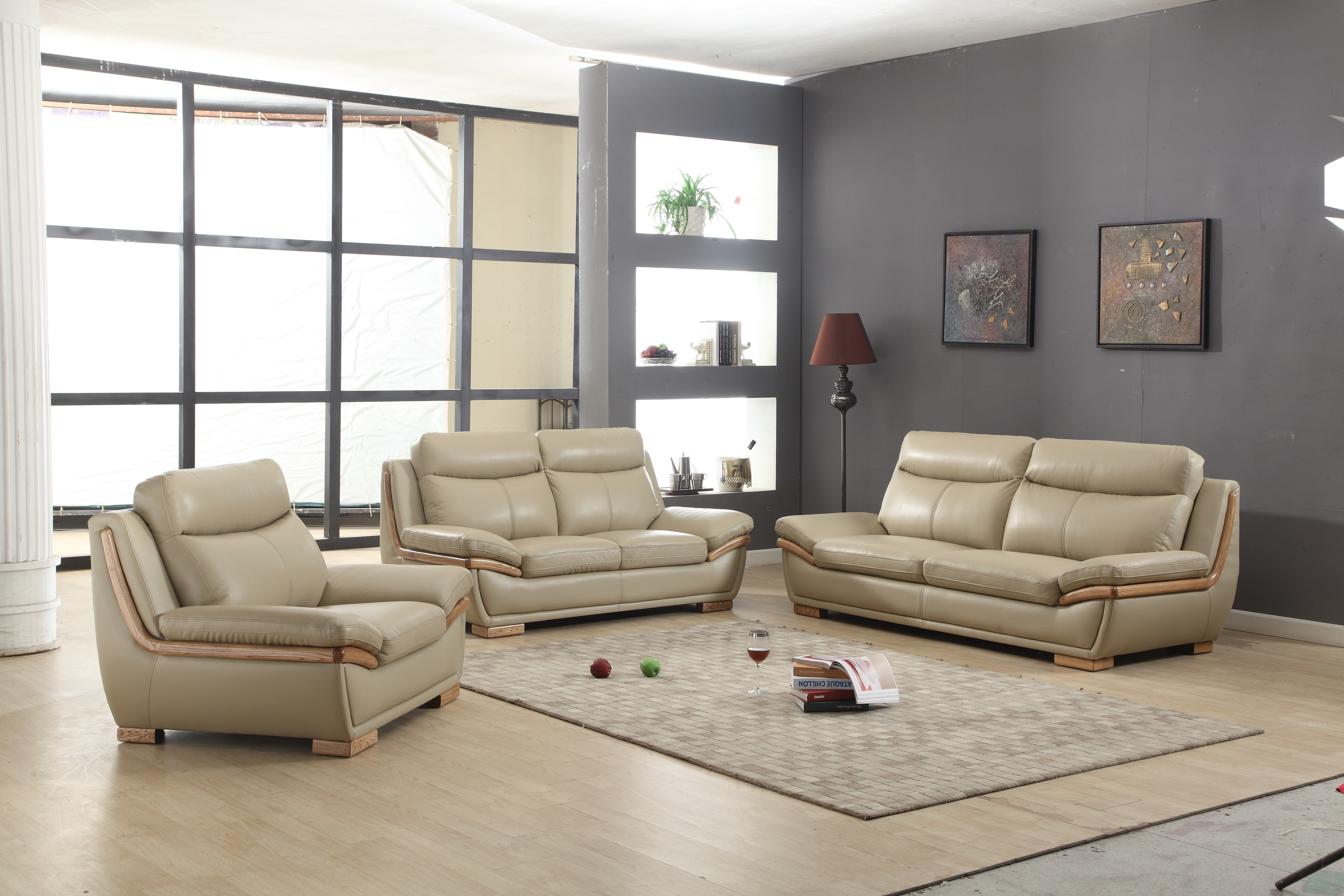 Corner L Shaped Light Brown Top Grain Leather Couch With Chaise.