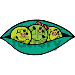 vector cartoon three peas in a pod clipart. Royalty.