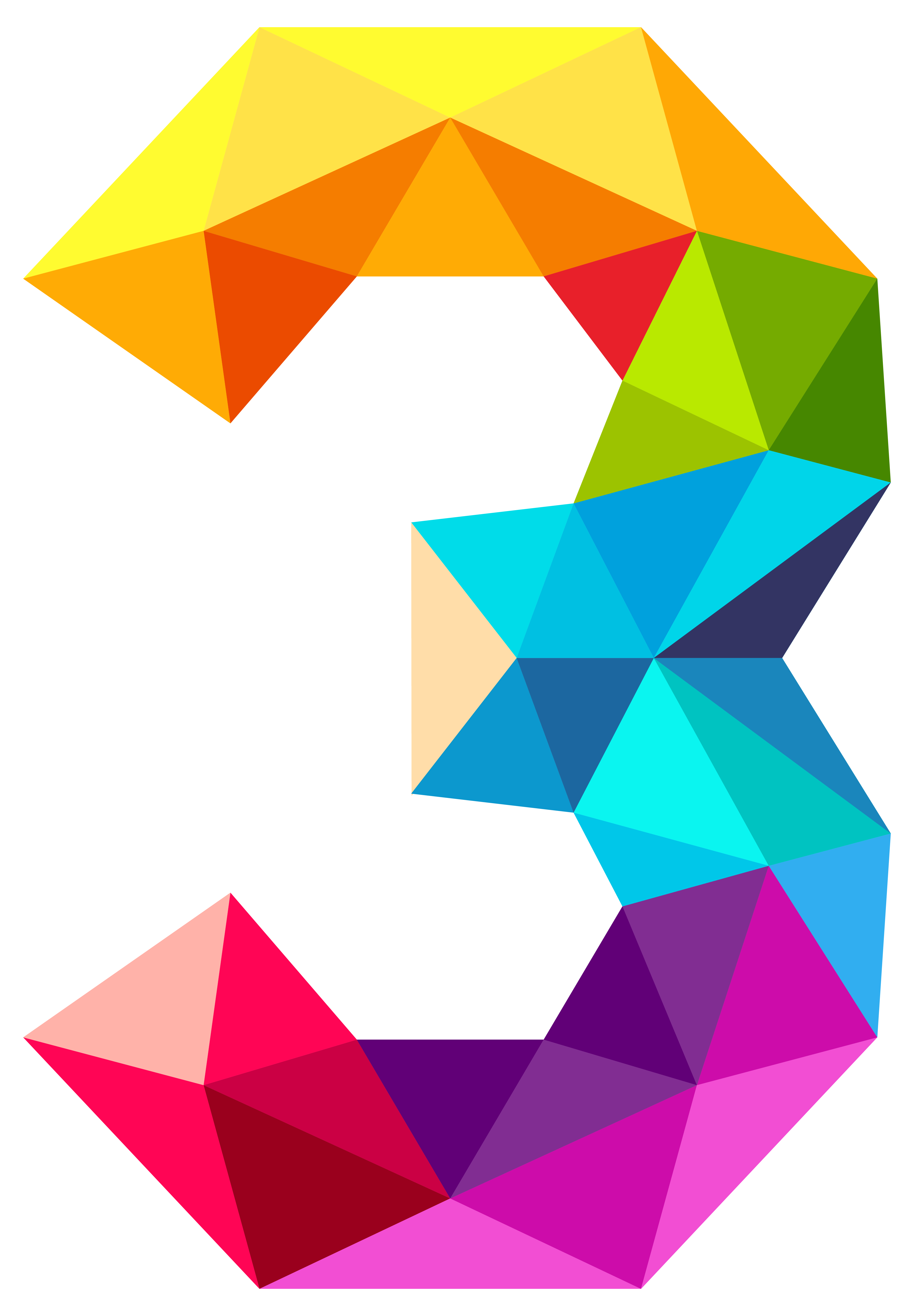 Colourful Triangles Number Three PNG Clipart Image.