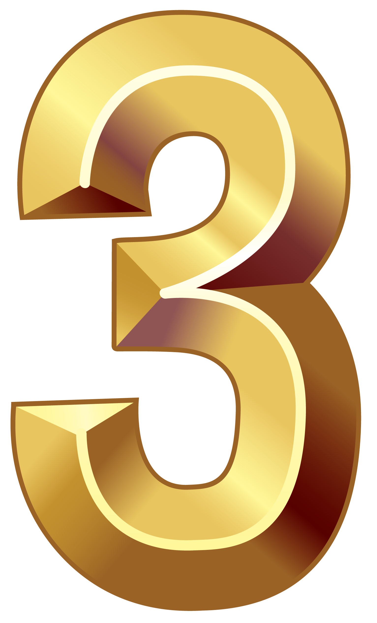 Gold Number Three PNG Clipart Image.