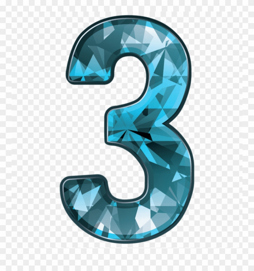 Download Blue Crystal Number Three Clipart Png Photo.
