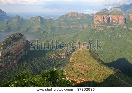 Blyde River Canyon Three Rondavels Three Stock Photo 150434441.