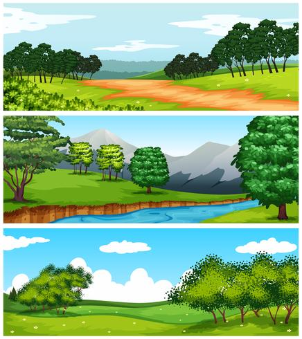 Three nature scenes with fields and trees.