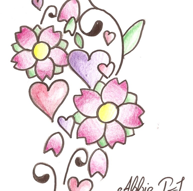 Simple Flower And Heart Tattoo Designs Wallpaper   Free.