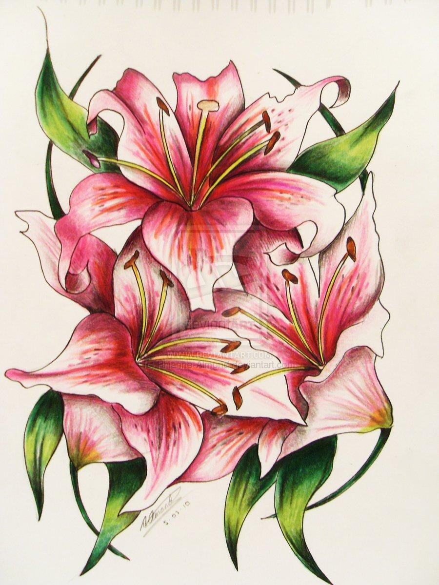 Amazing Three Red Lily Flowers Tattoo Design By Rhianne Almond.