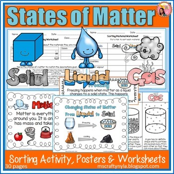 States of Matter activities, worksheets, definition cards and posters.