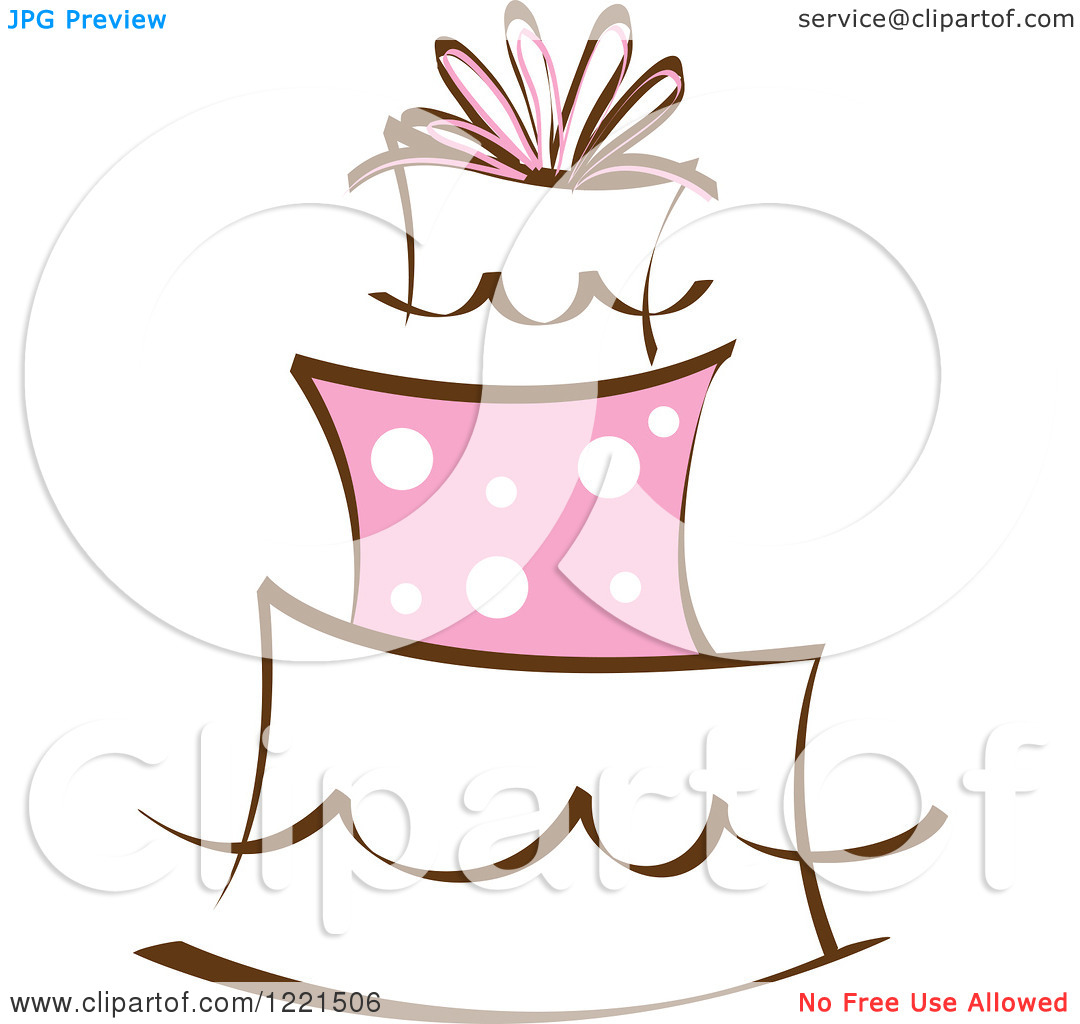 Clipart of a Three Tiered Cake with Pink Polka Dots.