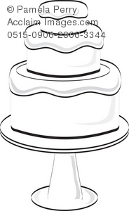Clip Art Black And White Tiered Cake Clipart.