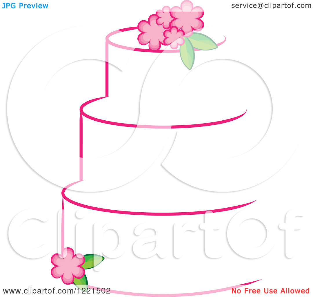 Clipart of a Three Tiered White Cake with Pink Flowers.