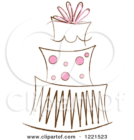 Clipart of a Three Tiered Cake with Colorful Flowers and Ribbons.