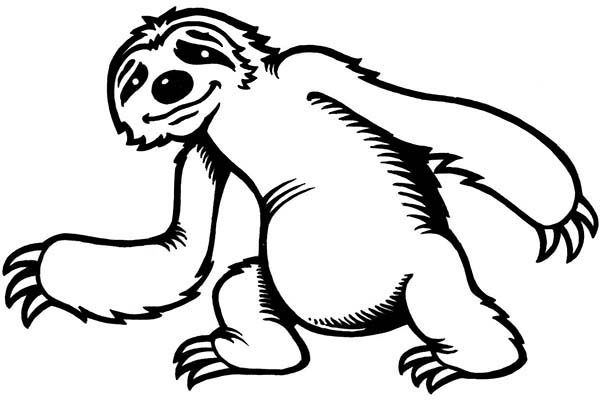 Sloth clipart black and white.