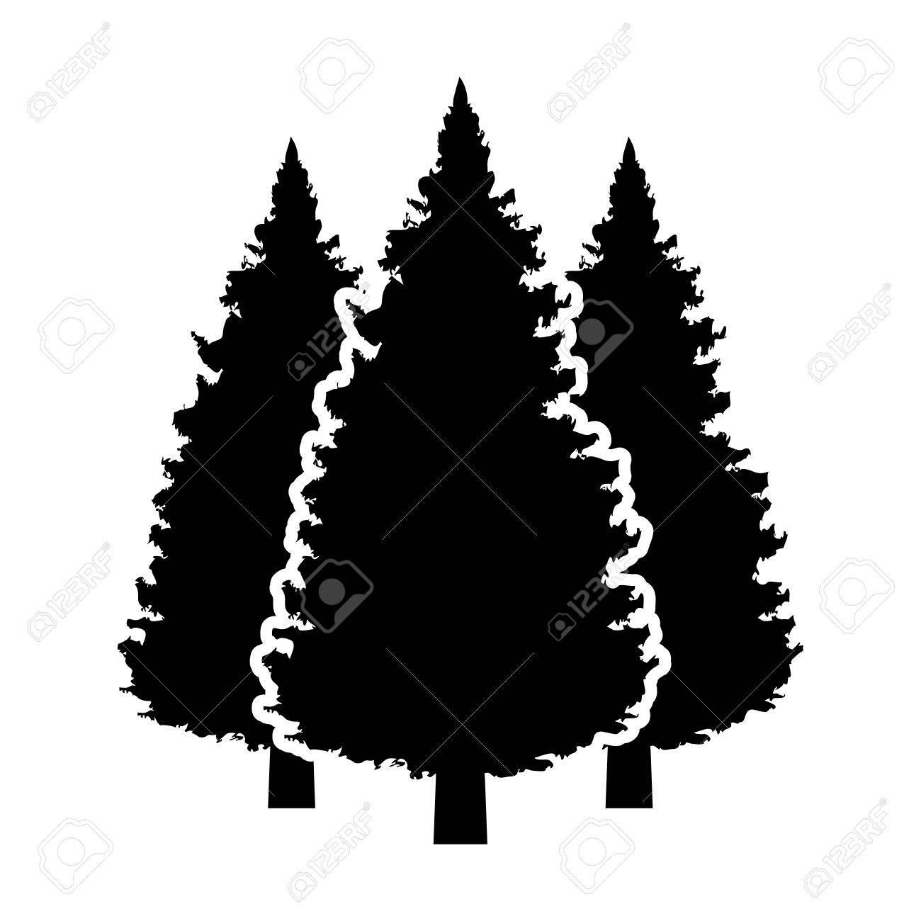 Three Pine Tree Silhouette.