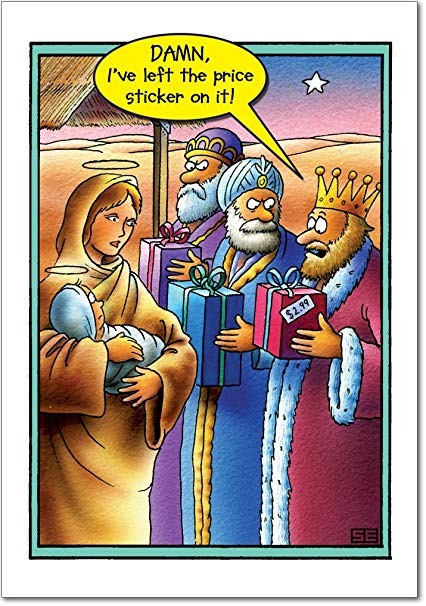 12 \'Price Tag Three Wise Men\' Boxed Christmas Cards with Envelopes 4.63 x  6.75 inch, Funny Magi Cartoon Christmas Notes, Hilarious 3 Kings Holiday.