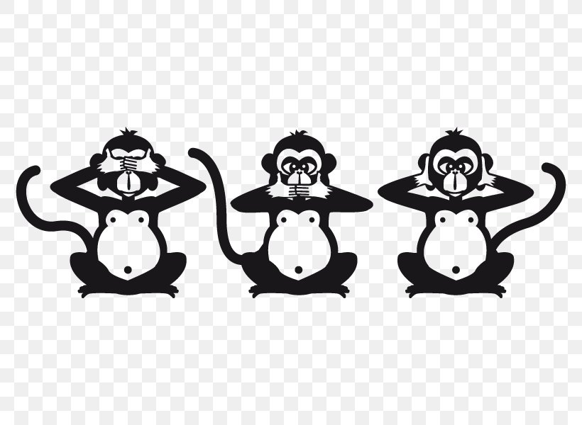 Three Wise Monkeys Figurine Black And White Image, PNG.