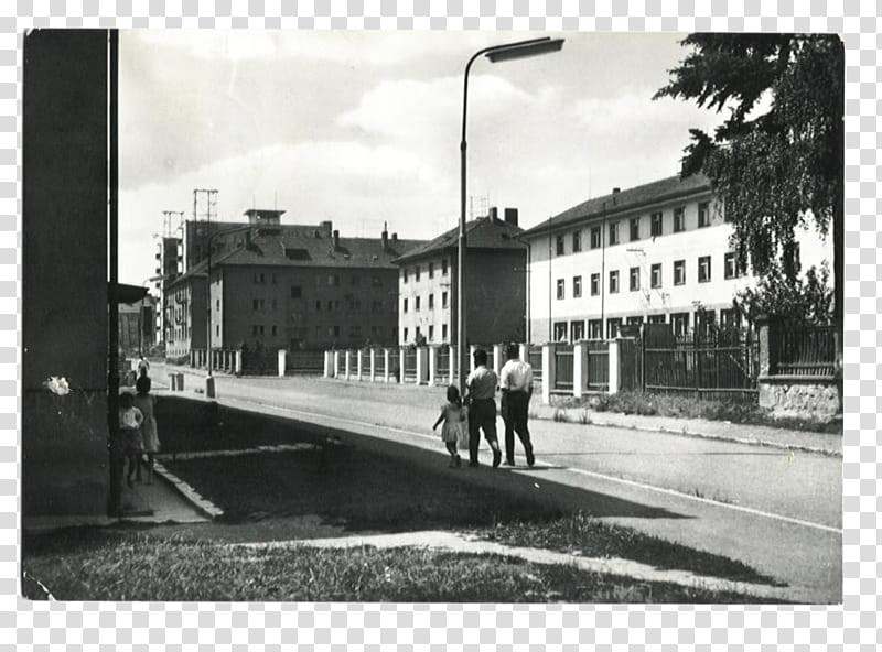 SET Postcards part, three person walking on road transparent.