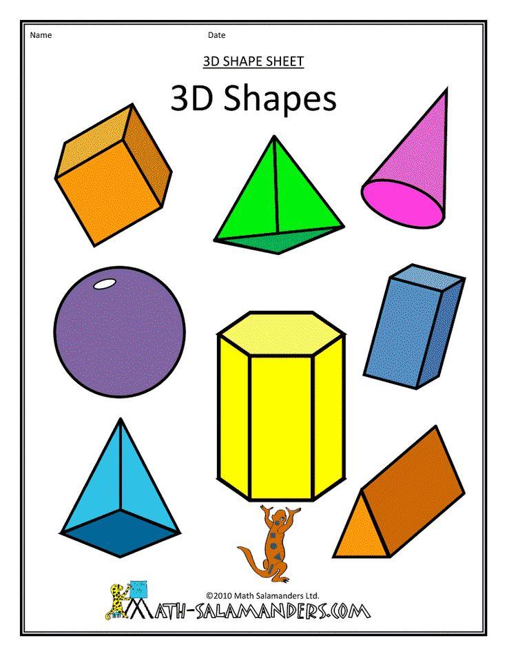 shapes dimensional shape three 3d geometric flat clipart plane math identify geometry solids solid common lying 2d core kindergarten figure
