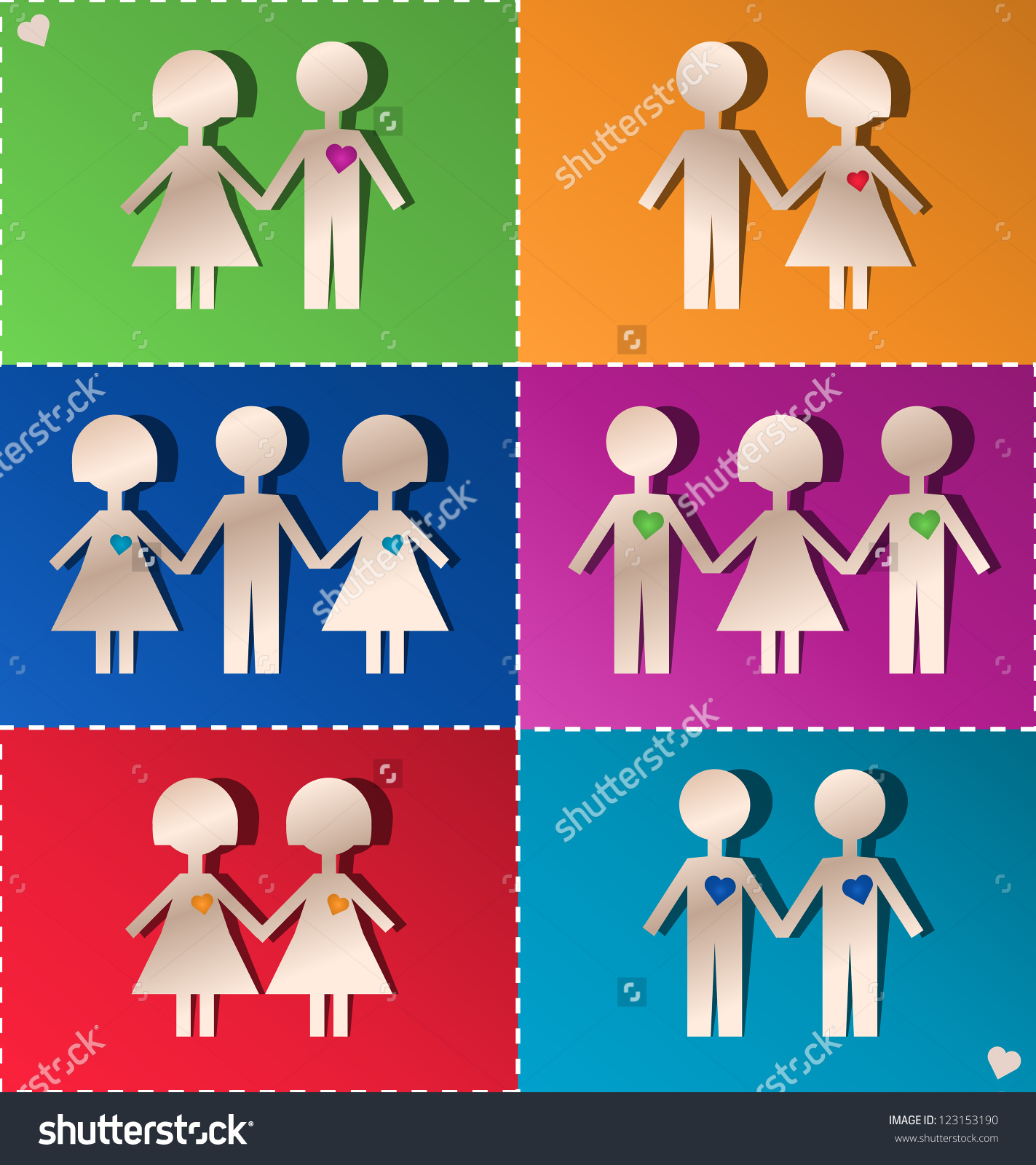 Paper Clipping Couples Threesomes Stock Vector 123153190.