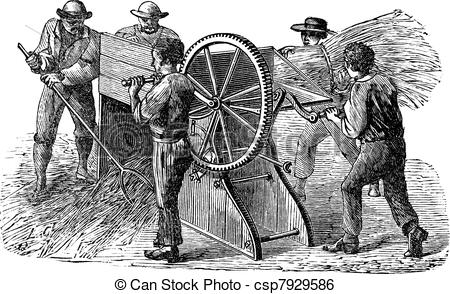 Clip Art Vector of Five people using threshing machine also known.