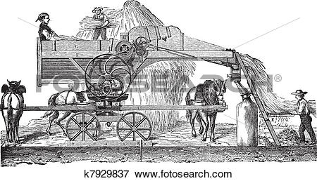 Clip Art of Threshing machine or thrashing machine vintage.