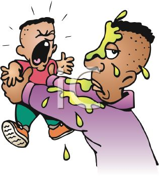 Royalty Free Clip Art Image: Screaming Baby Who Just Threw Up on.