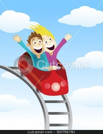 Man and women an a roller coaster stock vector.