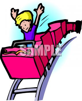 Royalty Free Clipart Image: Boy Alone in a Roller Coaster Car.