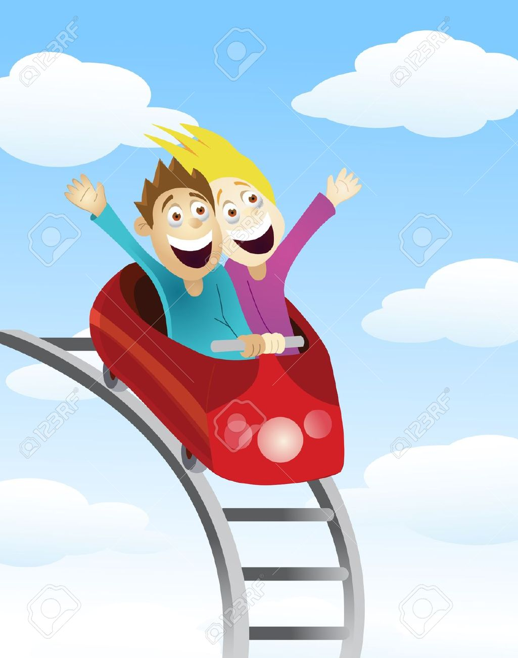 Man And Women An A Roller Coaster Royalty Free Cliparts, Vectors.