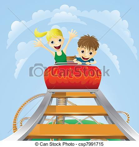 Clipart Vector of Thrilling roller coaster ride.