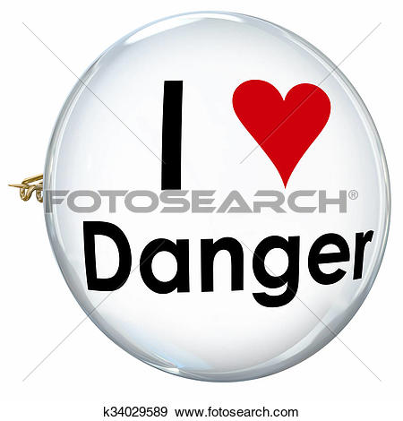 Stock Illustration of I Love Danger Words Heart Button Pin.
